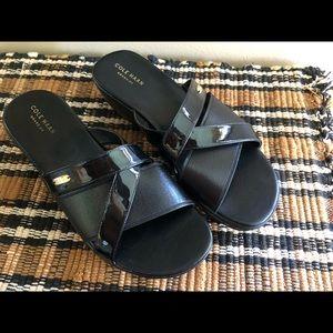 Cole Haan Black Criss-Cross Wedge Sandals Size 8